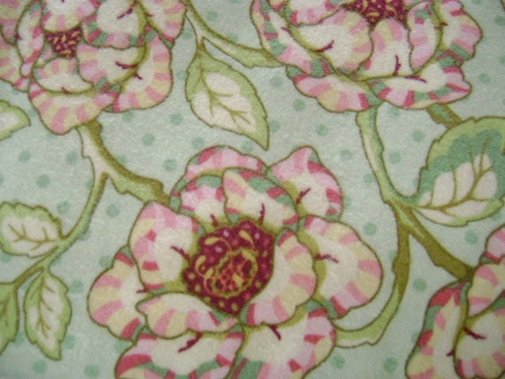 Reserved for Donna - Heather Bailey 'Fresh Cut' Flannel - Cabbage Rose in Mint Green - Yardage for Sewing, Crafts, Quilting