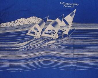 Vintage 80s Wind Surfing Hawaii Blue T Shirt