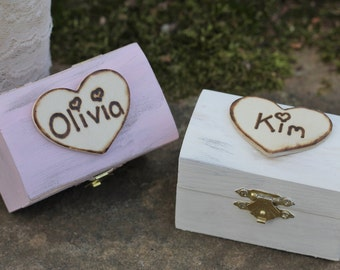Bridesmaid Jewelry Boxes Personalized Rustic Flower Girl Gift Box, Favor Box, Custom Color, Shabby Chic, Rustic Wedding Set of 2