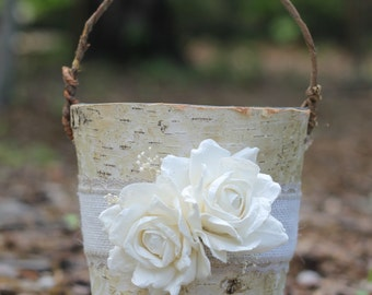 Birch Flower Girl Basket Rustic, Burlap Lace and Roses