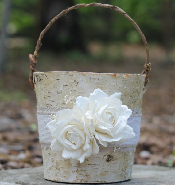 Rustic Burlap Flower Girl Baskets : Birch flower girl basket rustic burlap lace and by