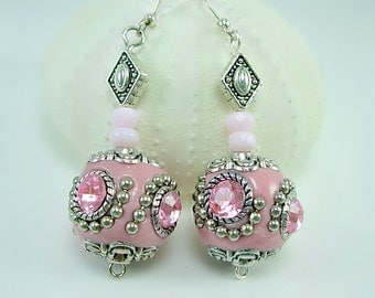 BCA 50 percent donation, Unique, Pink Kashmiri Beaded Earrings, Handmade Sterling Silver Ear wires, Girly Girl earrings