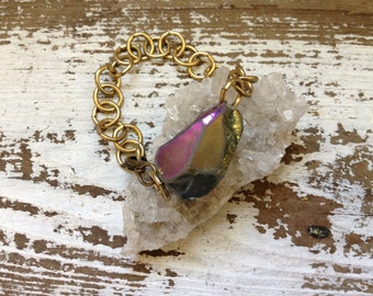Quartz Bracelet Crystal Bracelet Rainbow Crystal Gold Chain - Mystic Aura Druzy Gemstone and Chian, Natural Healing Energy, Yoga, Meditation