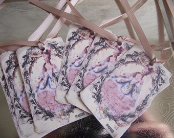 Marie Antoinette  Gift Tags Adorn With Rose Ribbon