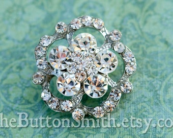 "Rhinestone Buttons ""Hannah"" (30mm) RS-024 - 5 piece set"