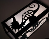 "12"" Seahorse Luminary - Black White Aqua Beach Wedding Centerpiece Decorations - Paper Lantern"