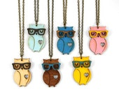 Nerd Owl Necklace - Handmade - laser cut - laser cut jewelry