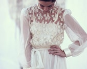 lace chiffon 70s full length vintage wedding dress - Emilie