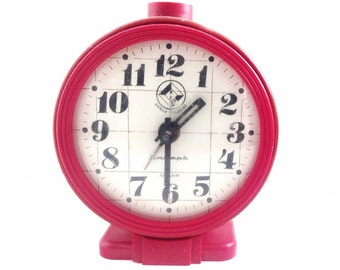 Red SOVIET CLOCK 4 jewels, use for home decor.