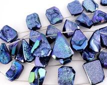 Blue Titanium Agate Druzy Beads Side Drilled Druzzy Drusy Beads - 1 STRAND (BB-136)