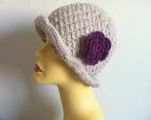 Womens Stone Color Winter Hat, Cloche Hat With Flower, Women Hat With Flower, Usa Seller