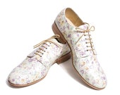 lilacs floweres patter pattent leather oxford  - FREE WORLDWIDE SHIPPING