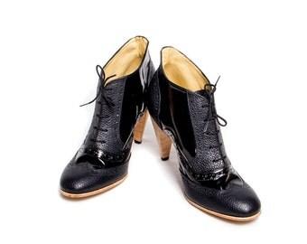 Oxford brogue black on black high heels FREE WORLDWIDE SHIPPING