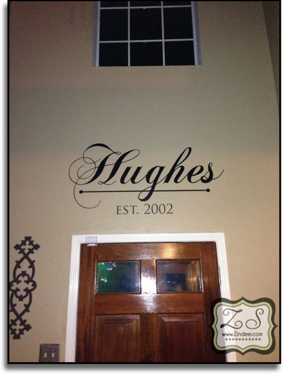 items similar to name decal for over the door entryway etc approx 45 w x 22 h vinyl wall. Black Bedroom Furniture Sets. Home Design Ideas