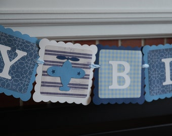 Airplane Happy Birthday Banner, Take Flight, Airplane Party, Airplane Birthday Party, Navy Light Blue and nd Blue