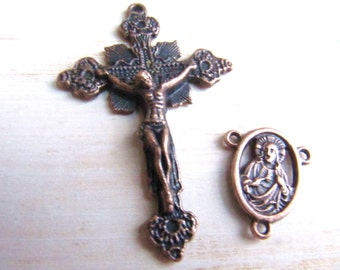 Antique Copper Vintage Style Rosary Crucifix & Matching Sacred Heart of Jesus/Mary Reversible Center