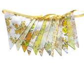 Vintage Bunting - Retro Sunshine Yellow / Lemon & Mustard Multi Floral Flags. HANDMADE . Shabby Chic Party Decoration. Home Decor  Pennant
