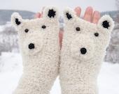 Polar Bear Fingerless Gloves (Boucle) - Free Shipping Worldwide - Pomber