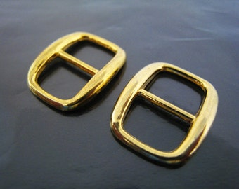 Finding - 2 pcs Gold Flat Rectangle Connector Buckle 19.5mm x 16mm ( Hole 10mm x 7mm )