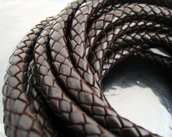 Leather Cord  9mm x 6mm - Dark Brown Oval Round Braided Bolo Genuine Leather Cord