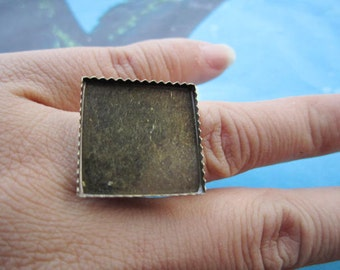 10pc 18mm adjustable antiqued bronze 20mm cabs square ring blank base trays