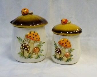 Vintage Set of Ceramic Canisters Mushroom Toadstool Japan 1978 Sears