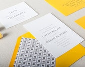 Yellow & Grey Wedding Invitations. Modern Wedding Invites with Bold Design in Grey and Yellow. Yellow + Grey Classic Wedding Stationery.