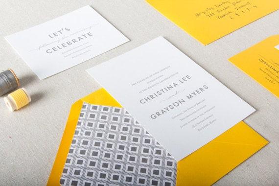 Yellow Grey Wedding Invitations: Yellow & Grey Wedding Invitations. Modern Bold By ChelseyEmery