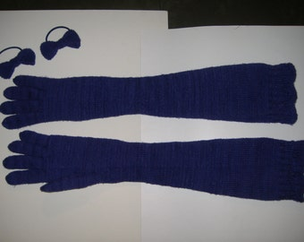 Hand Knitted Gloves, Over-the-Elbow Length, Winter Weight