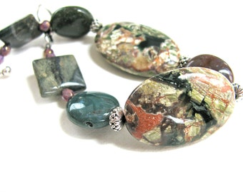 Earthy bracelet, Ocean Jasper with Agate and Czech glass, beaded bracelet, gemstones 235