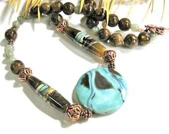 Earthy necklace, Lampworked Beads with Labradorite and Amazonite pendant, beaded necklace, gemstones 064