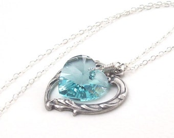 Light Teal Necklace, Victorian Heart Necklace, blue heart, Swarovski crystal, wire wrapped, turquoise, spring fashion, silver heart