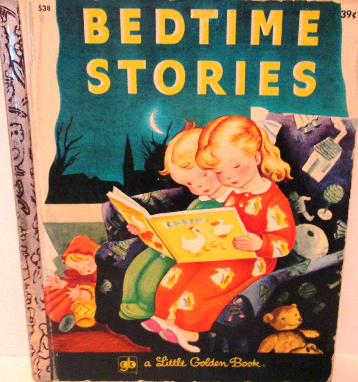 vintage bedtime stories a little golden book 1970s rare. Black Bedroom Furniture Sets. Home Design Ideas
