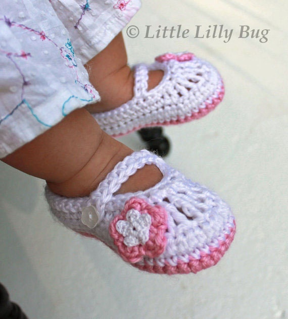 Crocheted Mary Jane Baby Booties In White And Pink Crocheted
