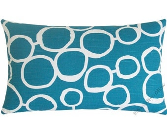 Deep Aqua Blue and White Freehand Circles Decorative Throw Pillow Cover / Pillow Case / Cushion Cover / 12x20""