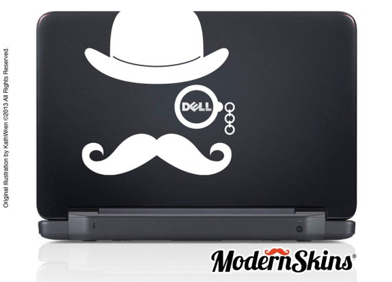 Laptop Mustache and Monocle - Dell - FREE SHIP