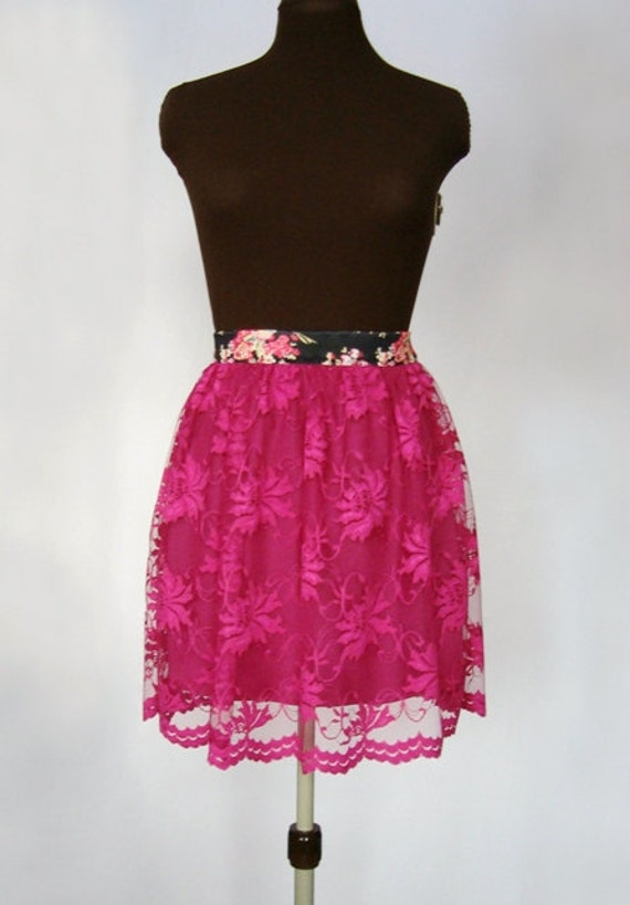 Fuchsia Floral Lace Feminine Summer Handmade Skirt with Elastic Waistband fit for XS / S sized Women