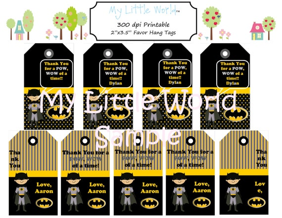 Super Hero Party Favor Tags - set of 18