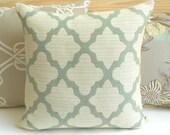 Decorative throw pillow cover, aqua blue green morrocan quatrefoil pillow