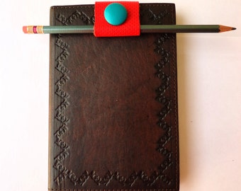 Santa Fe Red-Leather Bookmark-Turquoise Leather Vintage Button-Fringe-Handmade