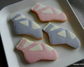 Ballet shoes slippers hand decorated sugar cookie FAVORS (#2385)