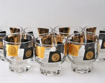 Set of 7 Mid Century Cera Lowball Coin Glasses
