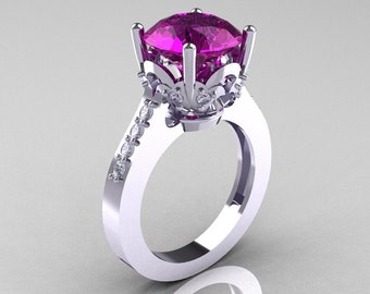 Classic 10K White Gold 3.0 Carat Amethyst Diamond Solitaire Wedding Ring R301-10KWGDAM