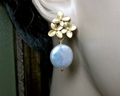 Pearl earrings - Bridal jewelry  - Gold Flower posts - Freshwater - Coin pearls - Bridesmaids- mother of the bride -  Gift