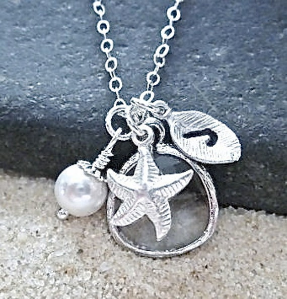 Nautical necklace ~ Personalized necklace - Sterling silver - Starfish - Hand stamped - Initial - Pearl - Bridal jewelry - Bridesmaids -Gift