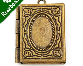 20pcs 24x19 mm Antique Brass Book Lockets Pendant Victorian Style,Brass Lockets,antique lockets for sale -C1163