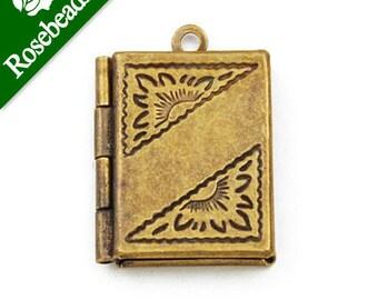 20% off-30pcs 19x16 mm Antique Brass Book Lockets Pendant Victorian Style,engraving lockets C1167