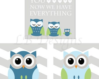 Set of 3 Gray, Blue and Green Owl Nursery Prints, Woodland Nursery Decor - 8x10s