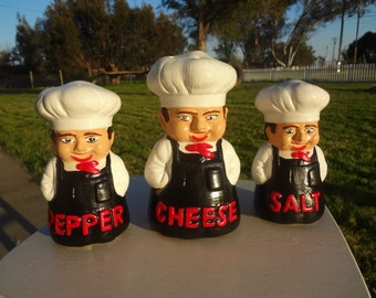 Vintage Chef Salt, Pepper and Cheese Shakers