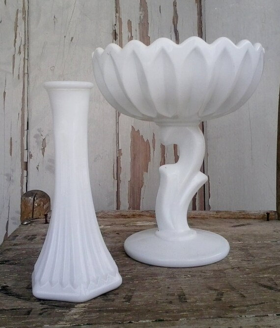Vintage White Milk Glass Vase Set Retro Antique Milkglass